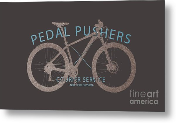 Pedal Pushers Courier Service Bike Tee Metal Print