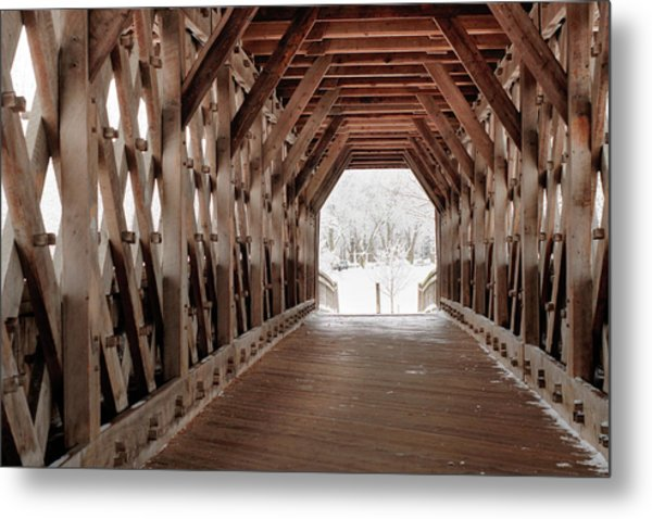 Pedestrian Lattice Bridge Metal Print