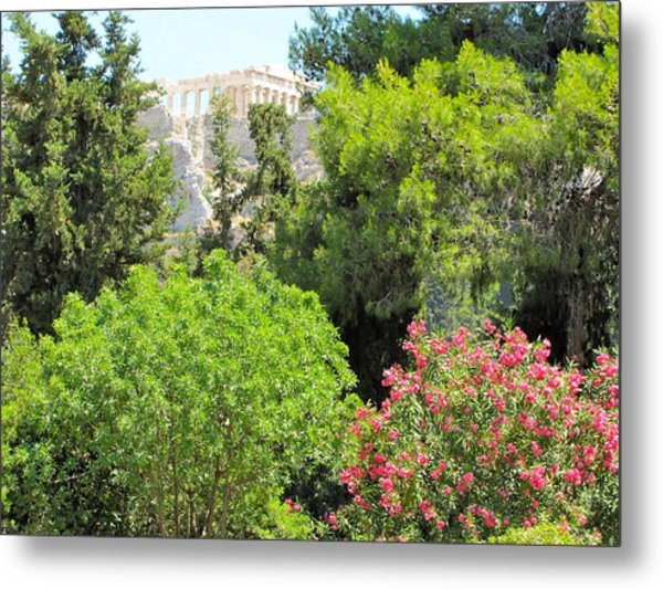 Peek Of The Parthenon Metal Print