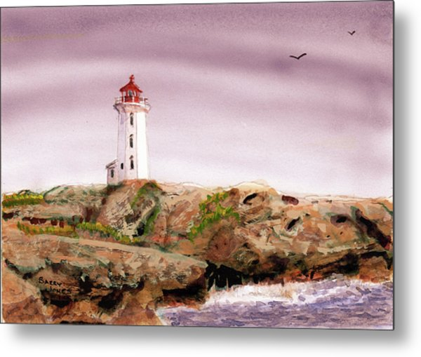 Metal Print featuring the painting Peggy's Cove Light House by Barry Jones