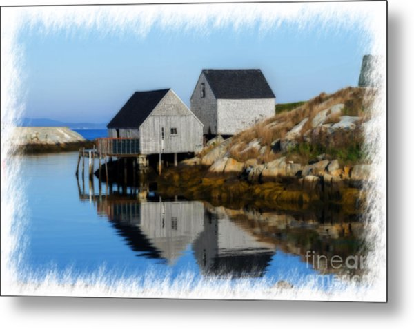 Peggys Cove Marina With Fishing Houses  Metal Print