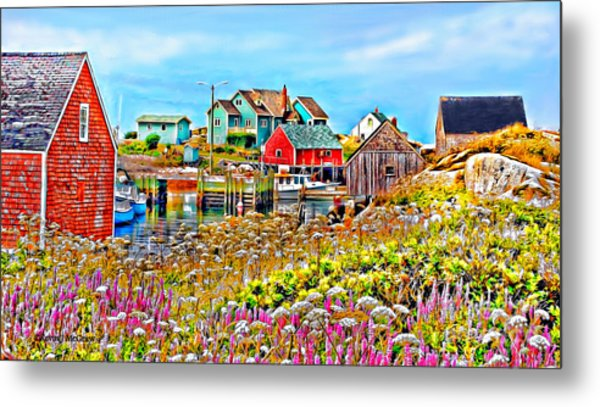 Peggy's Cove Wildflower Harbour Metal Print