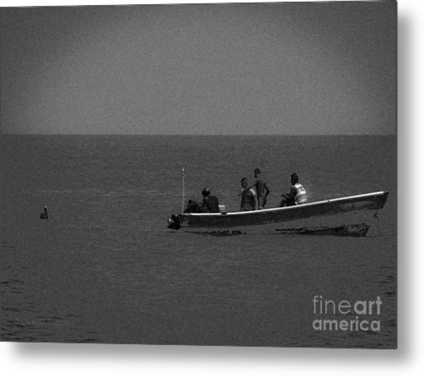 Pelican And The Fishing Boat Metal Print