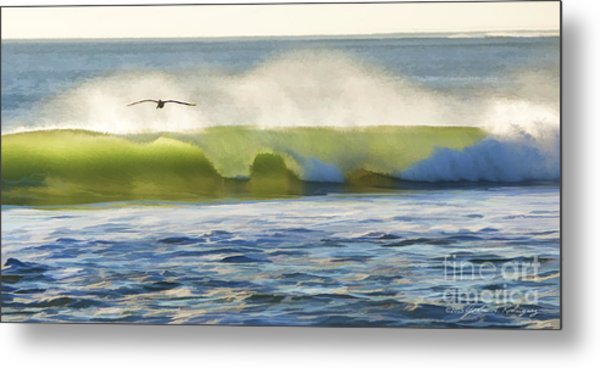 Pelican Flying Over Wind Wave Metal Print