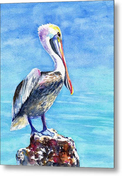 Pelican On A Post  Metal Print