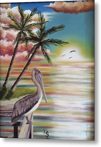 Pelican Sunset Metal Print