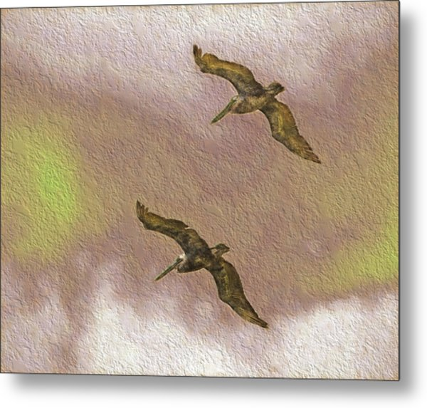 Pelicans On Cave Wall Metal Print