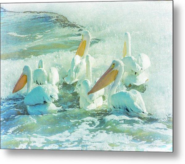 Pelicans On The Tide Metal Print