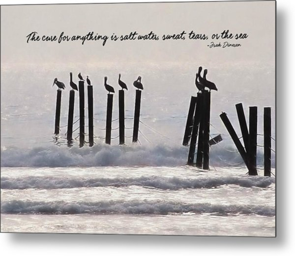 Pelicans Perched Quote Metal Print by JAMART Photography