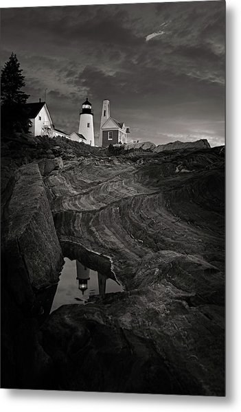 Pemaquid Lighthouse At Dawn Black And White Metal Print