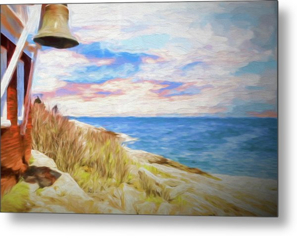 Pemaquid Lighthouse Bell On Maine Rocky Coast. Metal Print