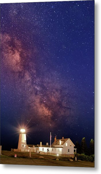 Pemaquid Point Lighthouse And The Milky Way Metal Print