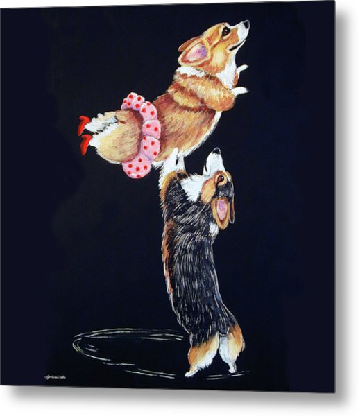Pembroke Welsh Corgi Her Red Shoes Metal Print