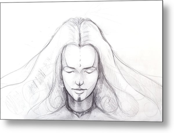 Pencil Drawing Of Beautiful Meditation Girl And Tattoo On Face And Star Earring Metal Print By Jozef Klopacka