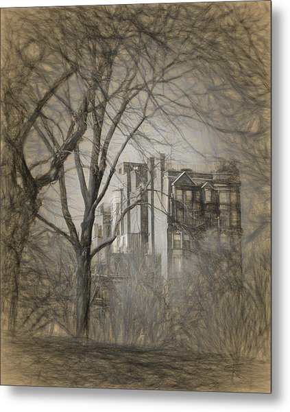 Pencil Sketch Of Beacon Hill Metal Print