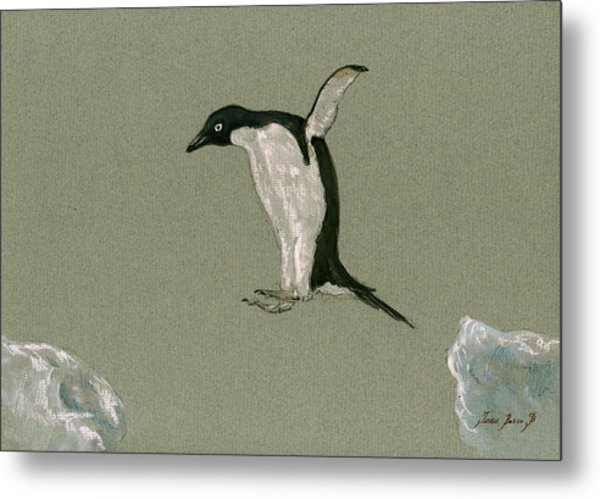 Penguin Jumping Metal Print