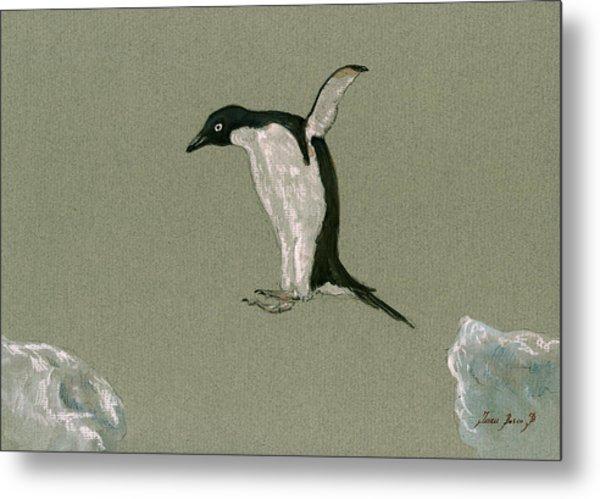 Penguin Jumping Metal Print