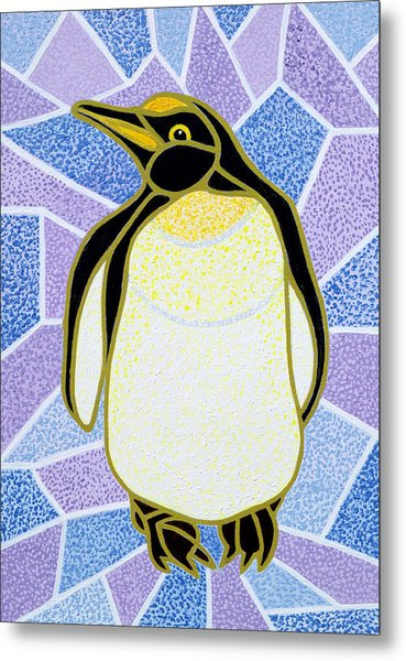 Penguin On Stained Glass Metal Print