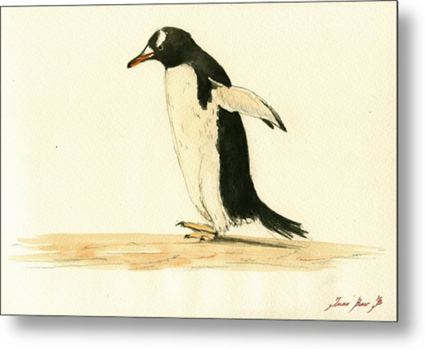Penguin Walking Metal Print