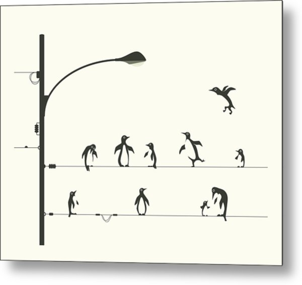 Penguins On A Wire Metal Print
