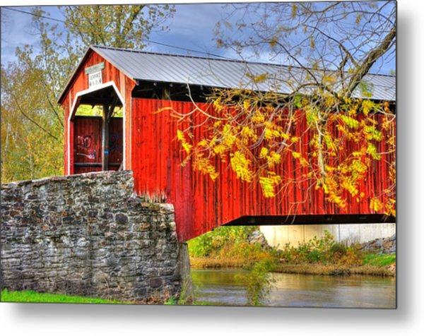 Pennsylvania Country Roads - Dellville Covered Bridge Over Sherman Creek No. 13 - Perry County Metal Print
