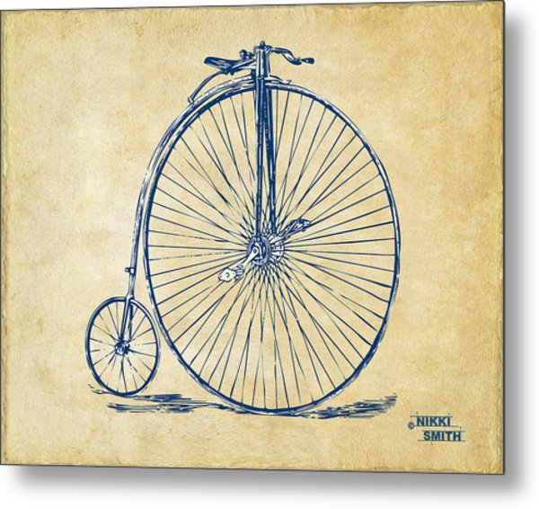 Metal Print featuring the digital art Penny-farthing 1867 High Wheeler Bicycle Vintage by Nikki Marie Smith