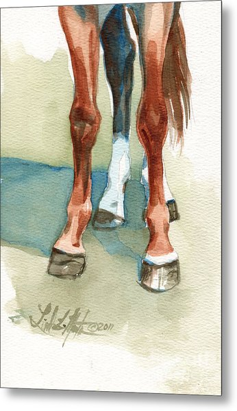 Metal Print featuring the painting Penny's Happy Feet by Linda L Martin