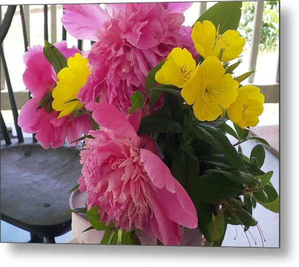 Peonies And Primroses Metal Print
