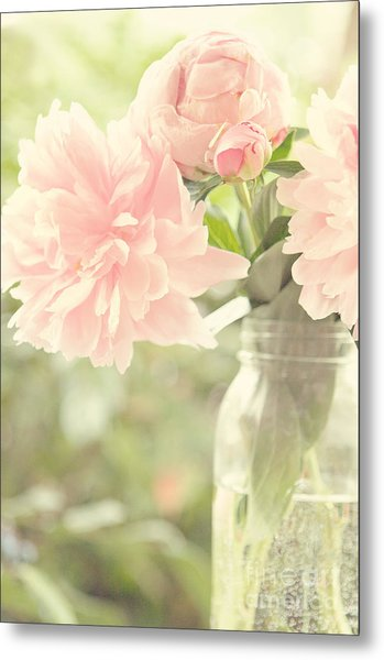 Peonies In A Mason Jar Metal Print