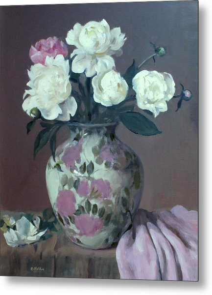 One Pink And Four White Peonies, Lavender Cloth  Metal Print