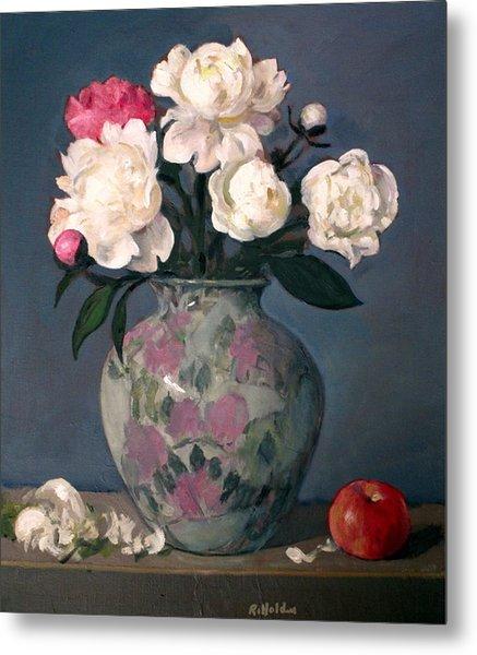 Peonies In Floral Vase With Red Apple Metal Print