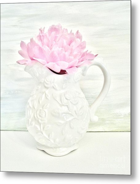Peony In A Pitcher Metal Print by Marsha Heiken