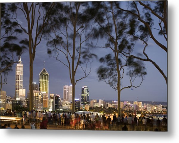 People In Kings Park Watching Fireworks On Australia Day With Perth Skyline In Background Metal Print by Orien Harvey