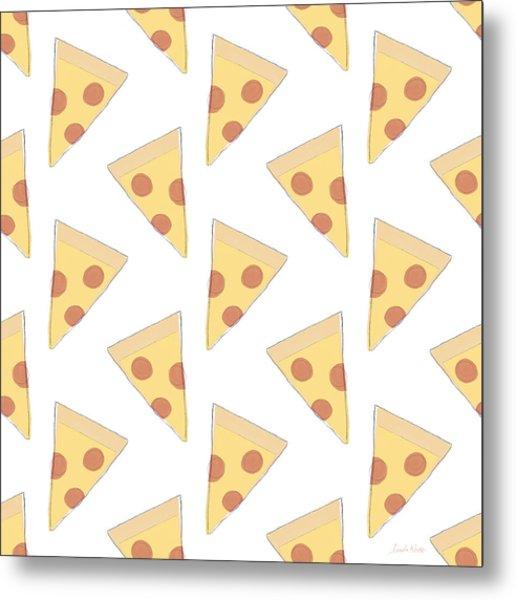 Pepperoni Pizza- Art By Linda Woods Metal Print