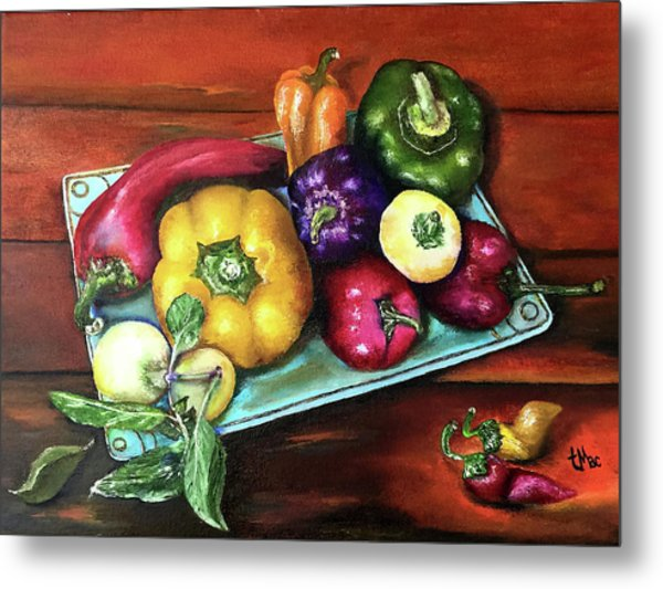 Peppers And A Turquoise Tray Metal Print