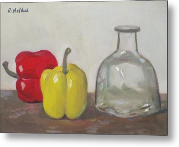 Peppers And Tequila Bottle Metal Print