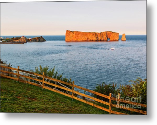 Metal Print featuring the photograph Perce Rock At Sunset by Elena Elisseeva
