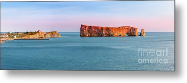 Metal Print featuring the photograph Perce Rock Panorama At Sunset by Elena Elisseeva