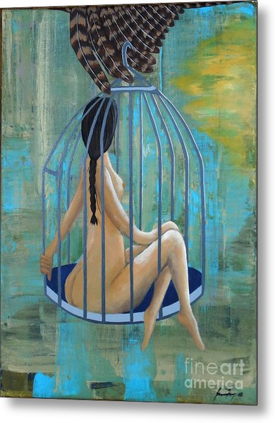 Perceptions Of The Lady In The Birdcage Metal Print