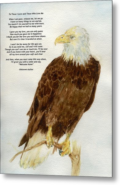 Perched Eagle- With Verse Metal Print