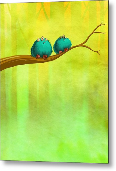 Perching Fluffs Metal Print