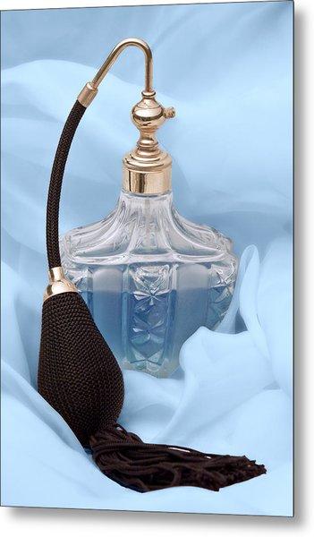 Perfume Bottle Still Life I In Blue Metal Print