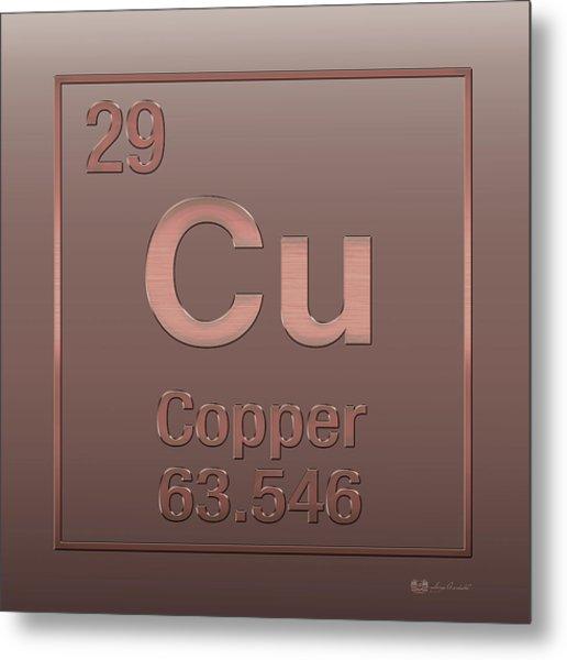 Periodic Table Of Elements - Copper - Cu - Copper On Copper Metal Print