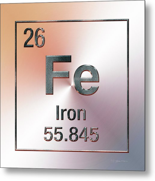 Periodic Table Of Elements - Iron Fe Metal Print