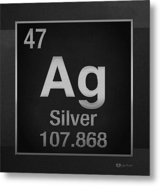 Periodic Table Of Elements - Silver - Ag - Silver On Black Metal Print