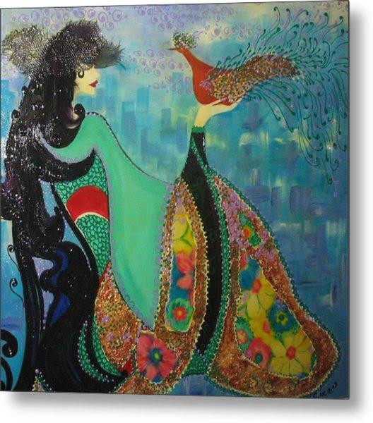 Persian Women With The Bird Metal Print