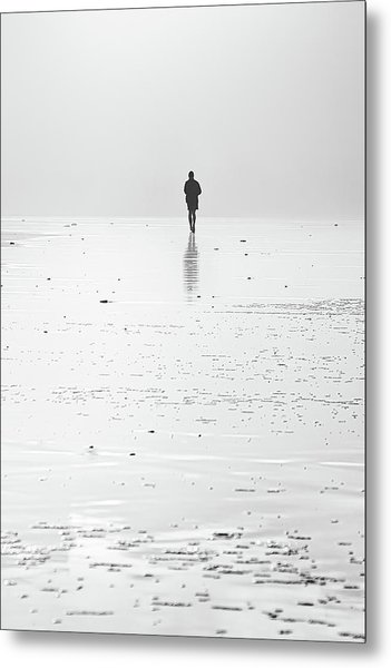Person Running On Beach Metal Print