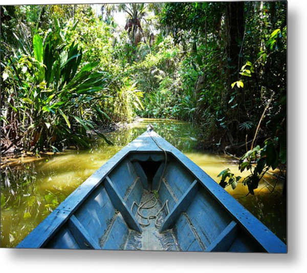 Peru Amazon Boat Metal Print