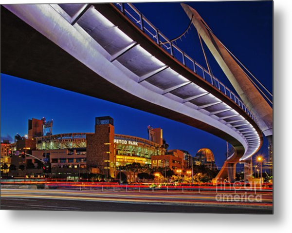 Petco Park And The Harbor Drive Pedestrian Bridge In Downtown San Diego  Metal Print