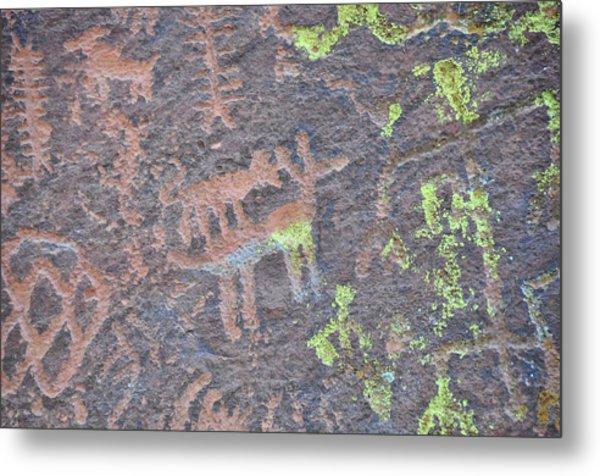 Petroglyph Wolf Attack Metal Print